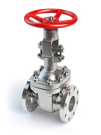 Gas pipeline valve isolated on white. 3d illustration Stock Photo - Budget Royalty-Free & Subscription, Code: 400-08554919
