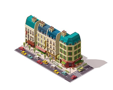Isometric Paris street with restaurants and stores Stock Photo - Budget Royalty-Free & Subscription, Code: 400-08554954
