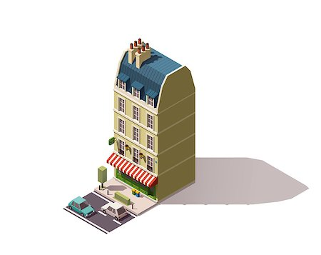 Isometric Paris building with creperie restaurant Stock Photo - Budget Royalty-Free & Subscription, Code: 400-08554955