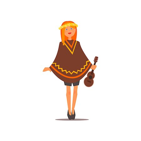 Hippy Girl With A Guitar Isolated Primitive Design Style Vector Illustration on White Background Stock Photo - Budget Royalty-Free & Subscription, Code: 400-08555157