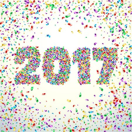 simsearch:400-04369855,k - New Year 2017 celebration background. Happy New Year colorful digital type on white background with confetti. Greeting card template. Vector illustration. Stock Photo - Budget Royalty-Free & Subscription, Code: 400-08575140
