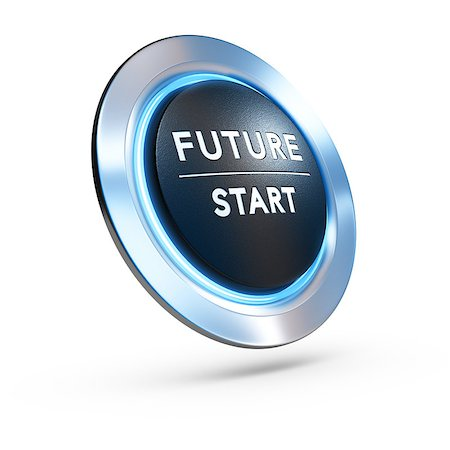 3D illustration of a pushbutton where it is written future start with blue light over white background. Concept image for illustration of life change or strategic vision. Stock Photo - Budget Royalty-Free & Subscription, Code: 400-08575407
