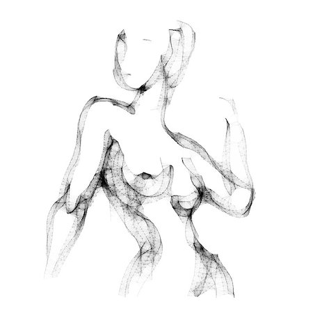 Silhouette of beautiful nude  woman vector illustration. Sketch artwork of woman body. Stock Photo - Budget Royalty-Free & Subscription, Code: 400-08573668