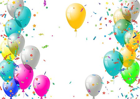 Abstract colorful confetti and balloons background. Balloons and confetti isolated on the white. Vector holiday illustration. Stock Photo - Budget Royalty-Free & Subscription, Code: 400-08616135