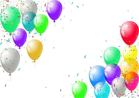 Abstract colorful confetti and balloons background.  Balloons and confetti isolated on the white. Vector holiday illustration. Stock Photo - Budget Royalty-Free & Subscription, Code: 400-08616136