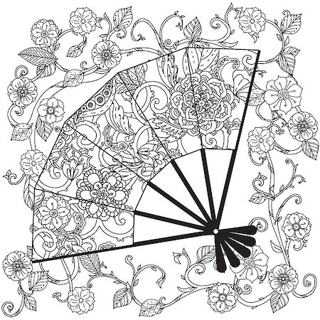 peony in vector - Uncoloured Oriental fan decorated with floral patterns for adult  coloring book.  Black and white. Uncolored Vector illustration. The best for your design, textiles, posters, adult coloring book Stock Photo - Budget Royalty-Free & Subscription, Code: 400-08616791