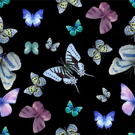 Seamless pattern from butterflies, vector illustration, clip-art Stock Photo - Budget Royalty-Free & Subscription, Code: 400-08616879