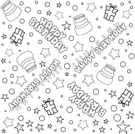 Vector illustration pattern of outline Happy Birthday text cake presents and stars. Stock Photo - Budget Royalty-Free & Subscription, Code: 400-08617538