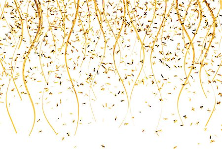 falling confetti and ribbons with gold color, 3D Rendering Stock Photo - Budget Royalty-Free & Subscription, Code: 400-08617663