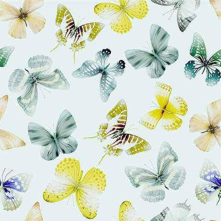 Seamless pattern from butterflies, vector illustration, clip-art Stock Photo - Budget Royalty-Free & Subscription, Code: 400-08617705
