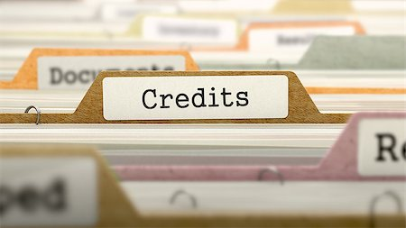 Credits on Business Folder in Multicolor Card Index. Closeup View. Blurred Image. 3D Render. Stock Photo - Budget Royalty-Free & Subscription, Code: 400-08618967