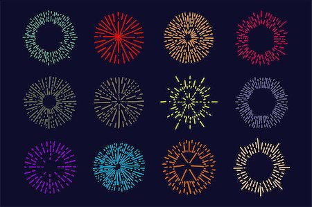 fireworks vector art - Set of vintage sunburst. Hand drawn. Light ray. Design template  for icons, logos or graphic elements. Stock Photo - Budget Royalty-Free & Subscription, Code: 400-08619699
