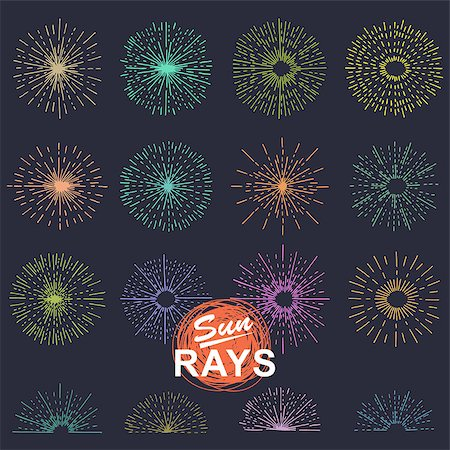 fireworks vector art - Set of vintage sunburst. Hand drawn. Light ray. Design template  for icons, logos or graphic elements. Stock Photo - Budget Royalty-Free & Subscription, Code: 400-08619700