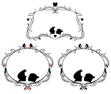 simsearch:400-04863562,k - Vector original decorative frames set with loving couple and heart silhouettes Stock Photo - Budget Royalty-Free & Subscription, Code: 400-08611813