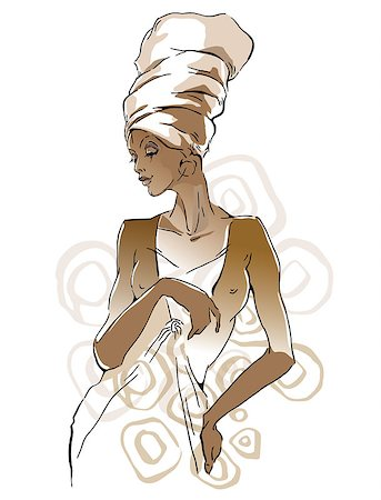 Vector sketch of afican woman. Editable layers. Stock Photo - Budget Royalty-Free & Subscription, Code: 400-08611958