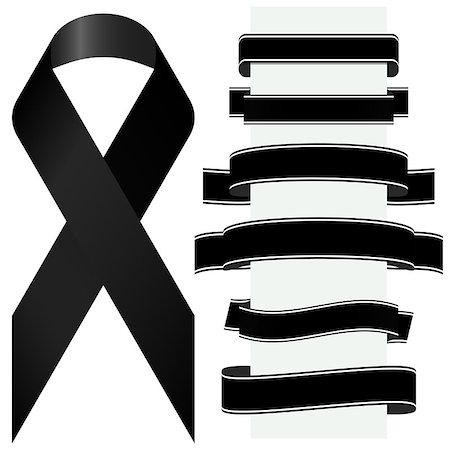 flag at half mast - mourning concept with black awareness ribbon and different banners Stock Photo - Budget Royalty-Free & Subscription, Code: 400-08612053