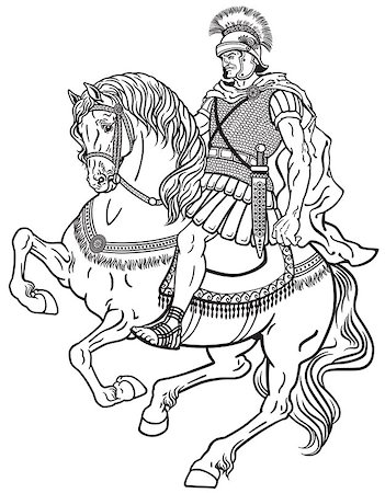 roman warrior riding the horse. Black and white illustration Stock Photo - Budget Royalty-Free & Subscription, Code: 400-08612406