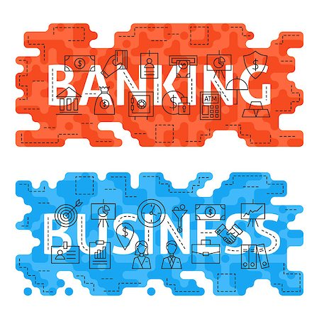 Banking Business Outline Flat Concept. Vector Illustration of Thin Line Finance Money Banner for Website and Web. Stock Photo - Budget Royalty-Free & Subscription, Code: 400-08624068