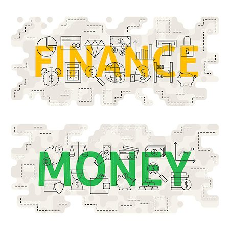 Finance Money Line Art Concept. Vector Illustration of Thin Outline Business and Banking Banner for Website and Web. Stock Photo - Budget Royalty-Free & Subscription, Code: 400-08624081