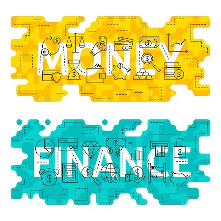 Money Finance Outline Flat Concept. Vector Illustration of Thin Line Banking and Business Banner for Website and Web. Stock Photo - Budget Royalty-Free & Subscription, Code: 400-08624102
