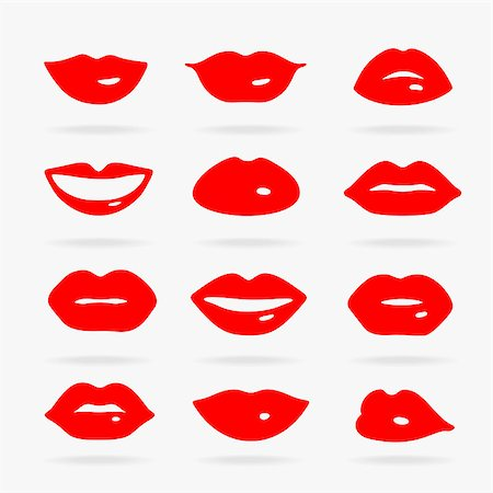 Set of Vector Symbols Lips eps 8 file format Stock Photo - Budget Royalty-Free & Subscription, Code: 400-08626090