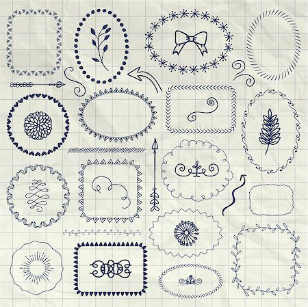 drawn curved - Set of Hand Drawn Doodle Borders and Frames. Rustic Decorative Design Elements, Florals, Dividers, Arrows, Swirls, on Crumpled Notebook Texture. Pen Drawing Vector Illustration. Stock Photo - Budget Royalty-Free & Subscription, Code: 400-08626543