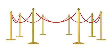 queue club - Golden barricade isolated on white background. 3D illustration Stock Photo - Budget Royalty-Free & Subscription, Code: 400-08626761