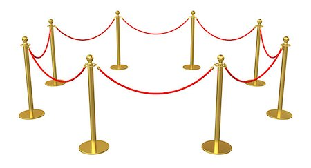 queue club - Golden barricade isolated on white background. 3D illustration Stock Photo - Budget Royalty-Free & Subscription, Code: 400-08626762