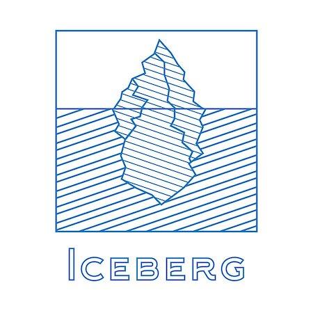 Iceberg in linear style. Outline iceberg isolated on white background. Vector illustration. Icon with iceberg. Iceberg for logotype. Stock Photo - Budget Royalty-Free & Subscription, Code: 400-08626951