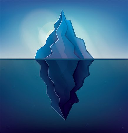 Iceberg on Blue Background. Vector Illustration. Low Poly Iceberg. Iceberg with Underwater Part. Stock Photo - Budget Royalty-Free & Subscription, Code: 400-08626952