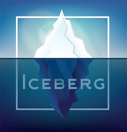 Iceberg on Blue Background. Vector Illustration. Low Poly Iceberg. Iceberg with Underwater Part and White Frame. Stock Photo - Budget Royalty-Free & Subscription, Code: 400-08626953
