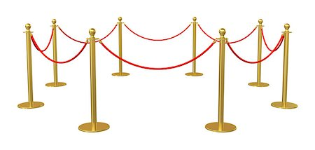 queue club - Golden barricade isolated on white background. 3D illustration Stock Photo - Budget Royalty-Free & Subscription, Code: 400-08628304