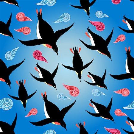 Vector illustration Beautiful pattern with penguins swimming in the sea Stock Photo - Budget Royalty-Free & Subscription, Code: 400-08622399