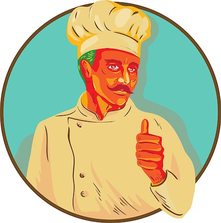 WPA style illustration of a chef with mustache doing a thumbs up viewed from the front set inside circle. Stock Photo - Budget Royalty-Free & Subscription, Code: 400-08622749