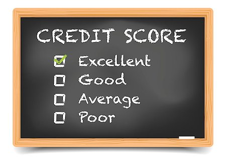 education loan - detailed illustration of checkboxes with Credit Score Rating Excellent on a blackboard, eps10 vector, gradient mesh included Stock Photo - Budget Royalty-Free & Subscription, Code: 400-08623547