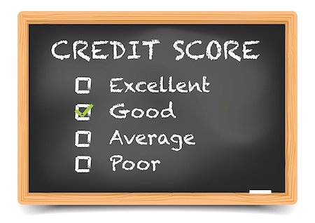 education loan - detailed illustration of checkboxes with Credit Score Rating Good on a blackboard, eps10 vector, gradient mesh included Stock Photo - Budget Royalty-Free & Subscription, Code: 400-08623548