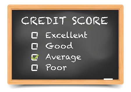 education loan - detailed illustration of checkboxes with Credit Score Rating Average on a blackboard, eps10 vector, gradient mesh included Stock Photo - Budget Royalty-Free & Subscription, Code: 400-08623549