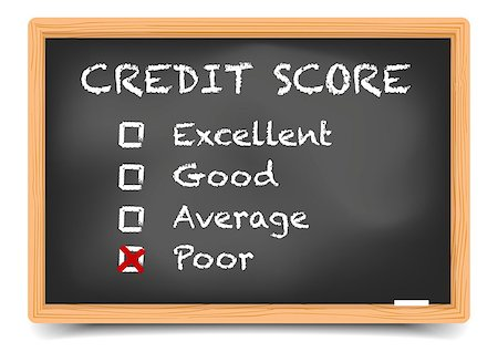 education loan - detailed illustration of checkboxes with Credit Score Rating Poor on a blackboard, eps10 vector, gradient mesh included Stock Photo - Budget Royalty-Free & Subscription, Code: 400-08623550
