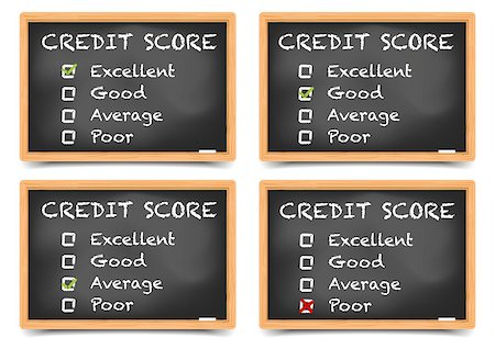 education loan - detailed illustration of checkboxes with Credit Score Ratings on a blackboard, eps10 vector, gradient mesh included Stock Photo - Budget Royalty-Free & Subscription, Code: 400-08623551