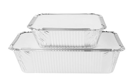 silver box - Foil trays for food on a white background Stock Photo - Budget Royalty-Free & Subscription, Code: 400-08646281