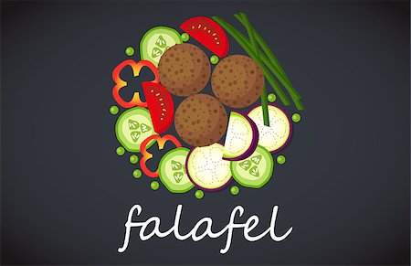 Plate of vegetarian falafel. View from above. Stock Photo - Budget Royalty-Free & Subscription, Code: 400-08648229