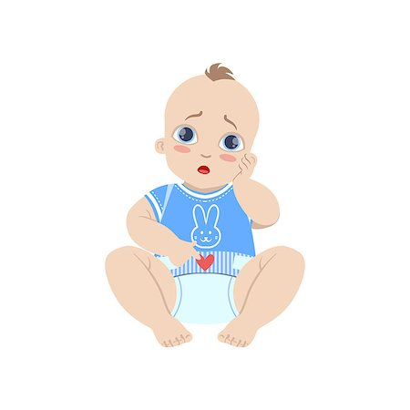 Baby In Blue With Dirty Nappy Flat Simple Cute Style Cartoon Design Vector Illustration Isolated On White Background Stock Photo - Budget Royalty-Free & Subscription, Code: 400-08649216