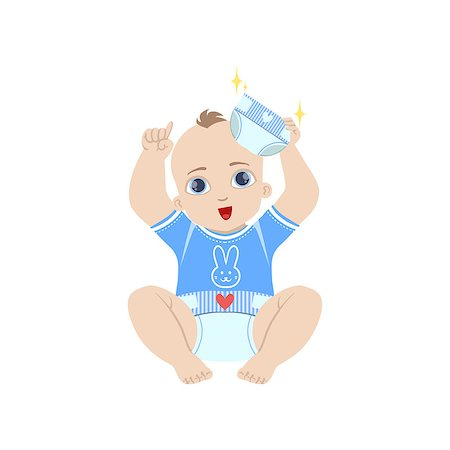 Baby In Blue Holding Fresh Nappy Flat Simple Cute Style Cartoon Design Vector Illustration Isolated On White Background Stock Photo - Budget Royalty-Free & Subscription, Code: 400-08649217