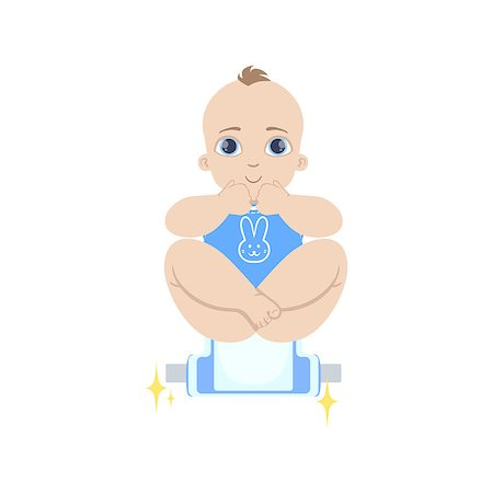 Baby In Blue Being Changed Flat Simple Cute Style Cartoon Design Vector Illustration Isolated On White Background Stock Photo - Budget Royalty-Free & Subscription, Code: 400-08649211