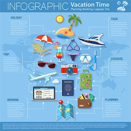 Vacation and Tourism Infographics with Flat Icons for Mobile Applications, Web Site, Advertising like Planning, Booking, Luggage, Trip, Cocktail, Island, Aircraft and Suitcase. Stock Photo - Budget Royalty-Free & Subscription, Code: 400-08649573