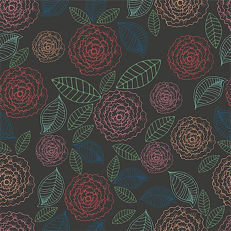 seamless floral - Vector doodle floral seamless pattern. Rose on a black background Stock Photo - Budget Royalty-Free & Subscription, Code: 400-08649668