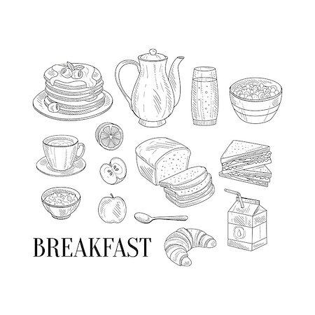 Breakfast Related Isoated Food Items Hand Drawn Realistic Detailed Sketch In Classy Simple Pencil Style On White Background Stock Photo - Budget Royalty-Free & Subscription, Code: 400-08654096