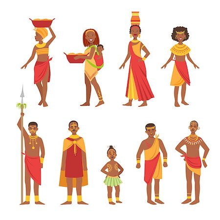 African National Tribal Outfit Bright Color Cartoon Simple Style Flat Vector Set Of Stickers Isolated On White Background Stock Photo - Budget Royalty-Free & Subscription, Code: 400-08654149