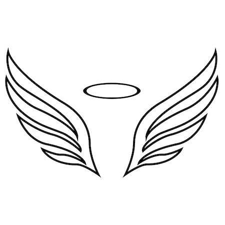 scalable - Vector sketch of angel wings on white background Stock Photo - Budget Royalty-Free & Subscription, Code: 400-08651752