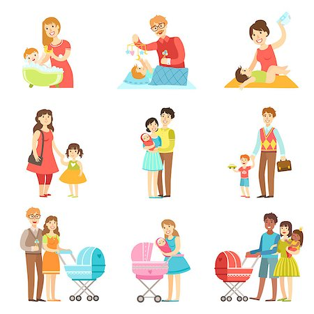 Happy Families With Kids And Babies Flat Childish Cartoon Style Bright Color Vector Illustration On White Background Stock Photo - Budget Royalty-Free & Subscription, Code: 400-08651929